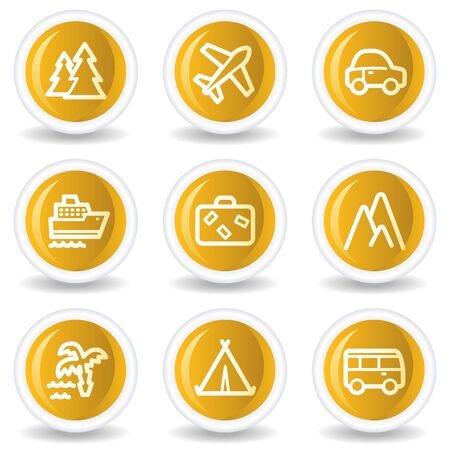 Travel web icons set 1, yellow glossy circle buttons Vector