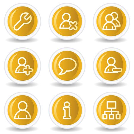 Users web icons, yellow glossy circle buttons Stock Vector - 7445599