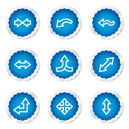 Arrows web icons set 2, blue stickers series Vector