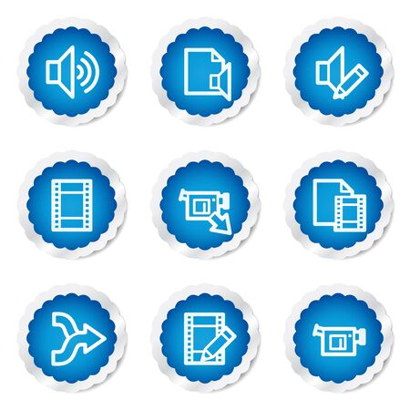 Audio video edit web icons, blue stickers series Vector