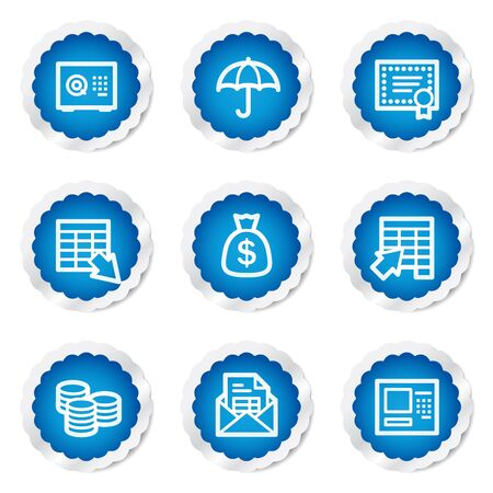 Banking web icons, blue stickers series Vector