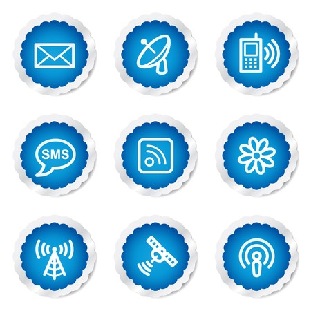 access point: Communication web icons, blue stickers series