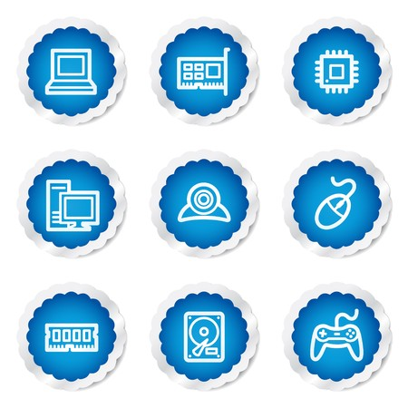 Computer web icons, blue stickers series Stock Vector - 7524203
