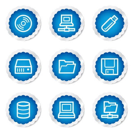 fdd: Drives and storage web icons, blue stickers series Illustration