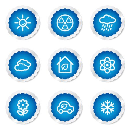 Ecology web icons set 2, blue stickers series Stock Vector - 7524202