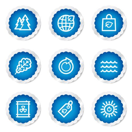 Ecology web icons set 3, blue stickers series Stock Vector - 7524185