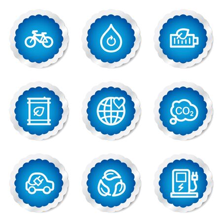 Ecology web icons set 4, blue stickers series Vector