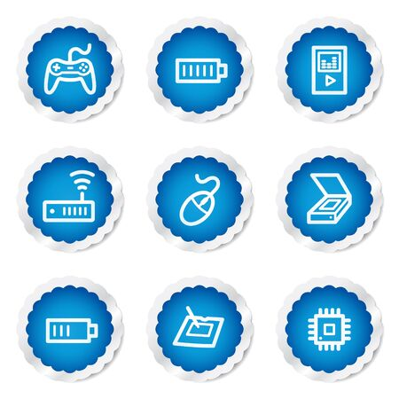 Electronics web icons set 2, blue stickers series Vector
