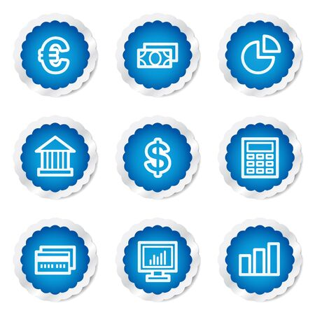 Finance web icons set 1, blue stickers series Stock Vector - 7524168