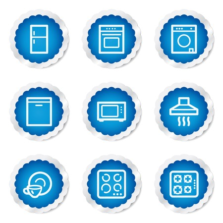 Home appliances web icons, blue stickers series Vector