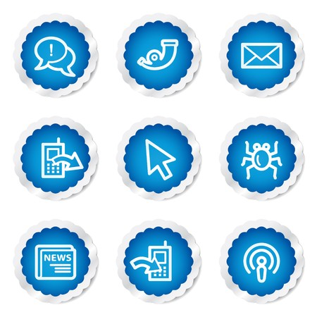 Internet web icons set 2, blue stickers series Stock Vector - 7524167