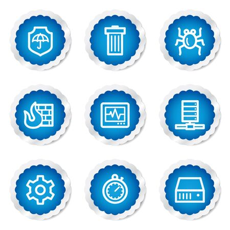 Internet security web icons, blue stickers series Stock Vector - 7524187