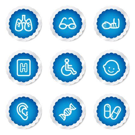 Medicine web icons set 2, blue stickers series Stock Vector - 7524154