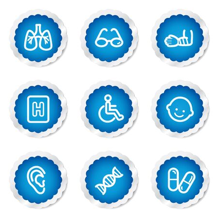 traumatic: Medicine web icons set 2, blue stickers series