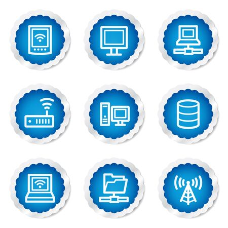 Network web icons, blue stickers series Vector