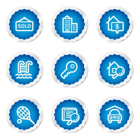 Real estate web icons, blue stickers series Stock Vector - 7524208
