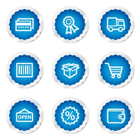 Shopping web icons set 2, blue stickers series Stock Vector - 7524177