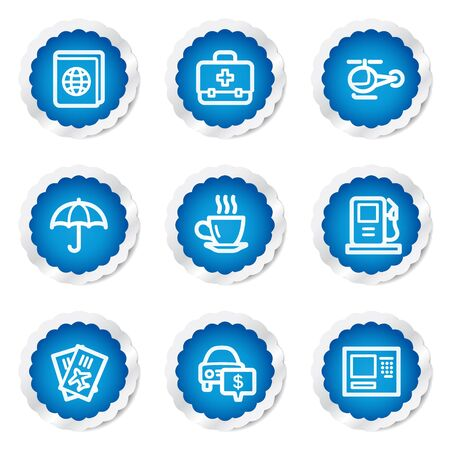 Travel web icons set 4, blue stickers series Stock Vector - 7524206