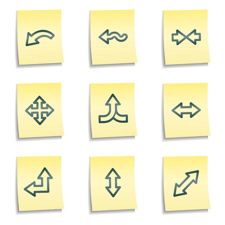 Arrows web icons set 2, yellow notes series Vector