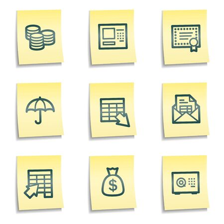 Banking web icons, yellow notes series Vector
