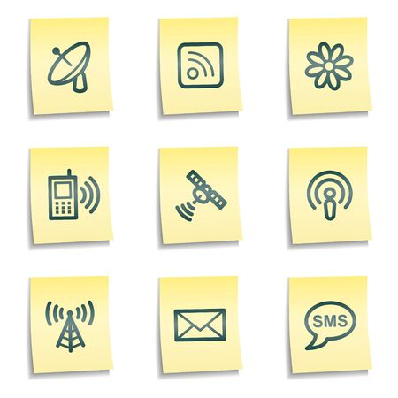 access point: Communication web icons, yellow notes series