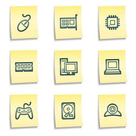 ddr: Computer web icons, yellow notes series Illustration
