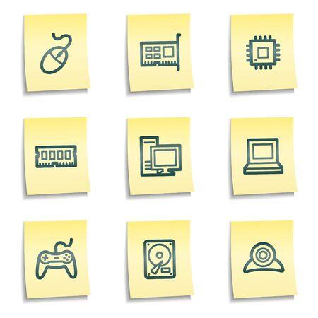 webcamera: Computer web icons, yellow notes series Illustration