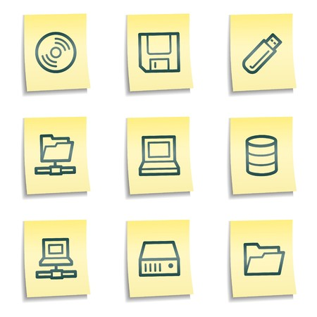 fdd: Drives and storage web icons, yellow notes series