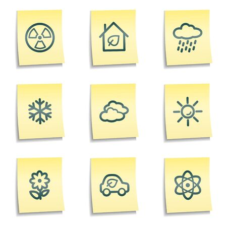Ecology web icons set 2, yellow notes series Stock Vector - 7524278