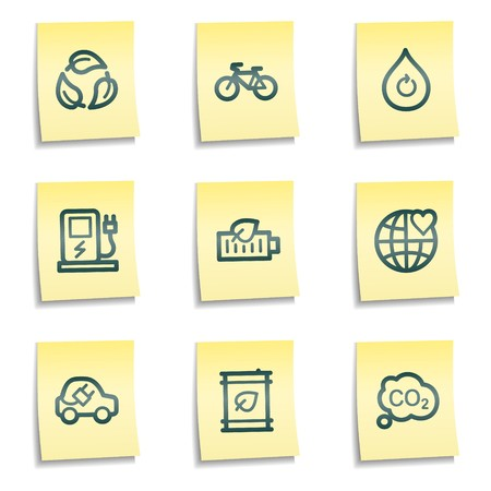 Ecology web icons set 4, yellow notes series Vector