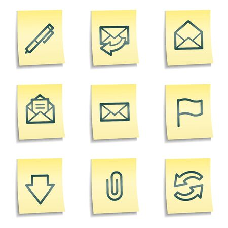 E-mail web icons, yellow notes series Stock Vector - 7524211
