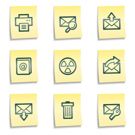 E-mail web icons set 2, yellow notes series Иллюстрация