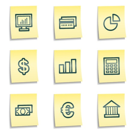 Finance web icons set 1, yellow notes series Stock Vector - 7524252