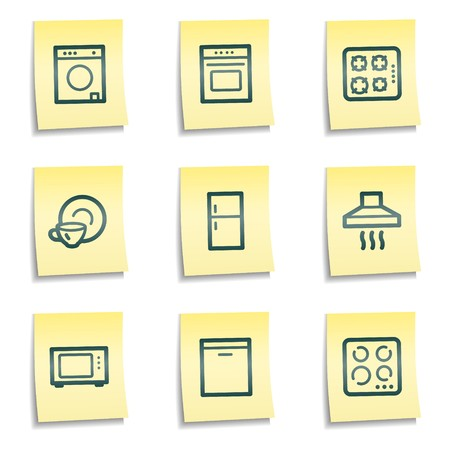 gas laundry: Home appliances web icons, yellow notes series