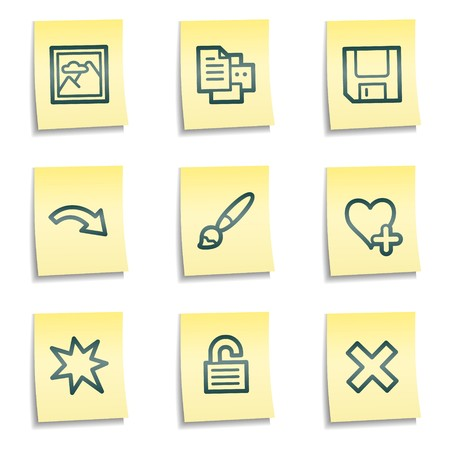 and viewer: Image viewer web icons set 2, yellow notes series Illustration