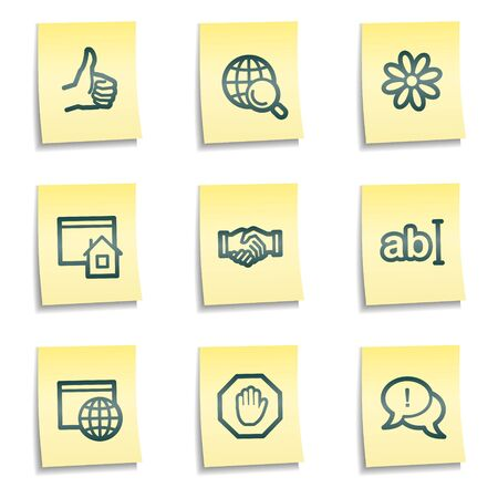icq: Internet web icons set 1, yellow notes series