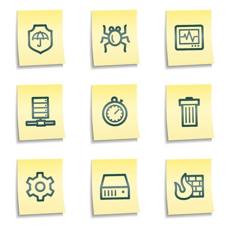 Internet security web icons, yellow notes series Stock Vector - 7524282