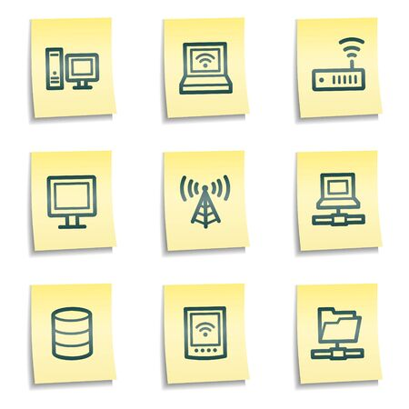 Network web icons, yellow notes series Vector