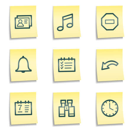 Organizer web icons, yellow notes series Vector