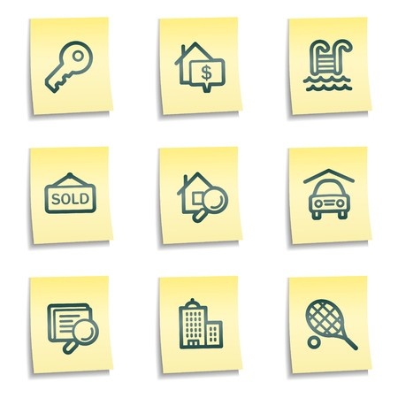 Real estate web icons, yellow notes series Vector