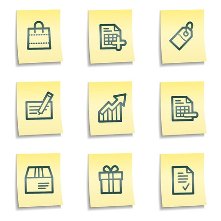 Shopping web icons set 1, yellow notes series Иллюстрация