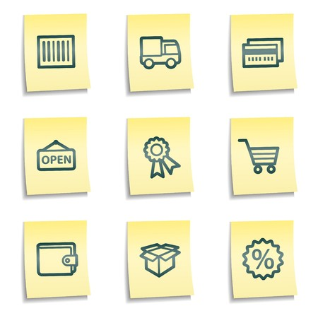billfold: Shopping web icons set 2, yellow notes series