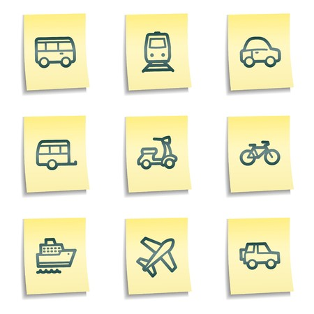 Transport  web icons, yellow notes series Stock Vector - 7524272