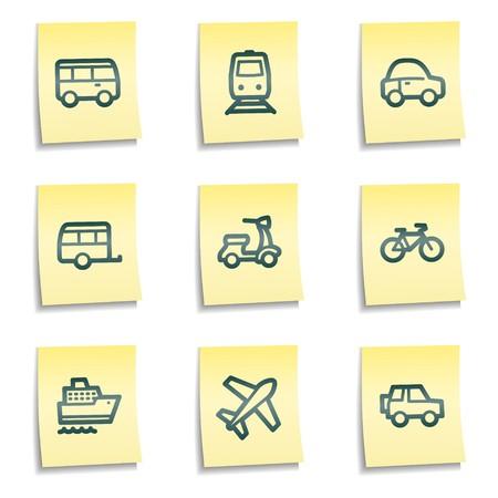 steamship: Vervoer van web icons, gele notities serie Stock Illustratie
