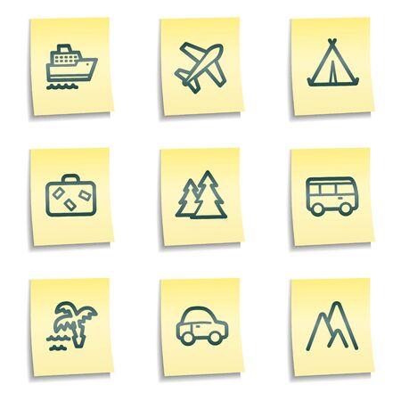 Travel web icons set 1, yellow notes series Vector