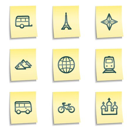 Travel web icons set 2, yellow notes series Vector