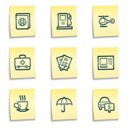 Travel web icons set 4, yellow notes series Vector