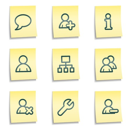 Users web icons, yellow notes series Vector