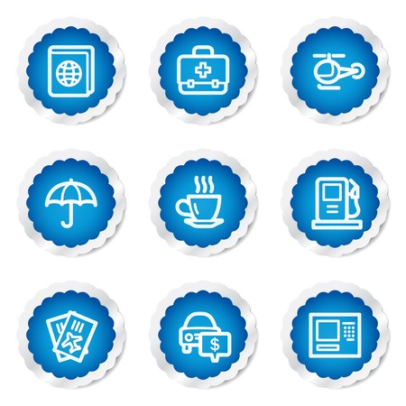 Travel web icons set 4, blue stickers series Vector