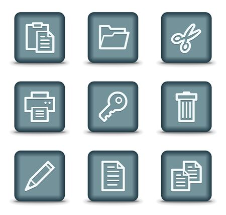 Document web icons set 1, grey square buttons Vector